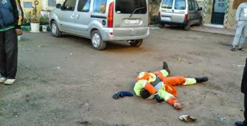 عسكري يعتدي على عامل نظافة فى جنين