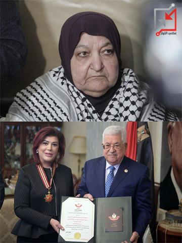 محمود عباس، أثناء تكريم سفيرة العراق لدى دولة فلسطين صفيه طالب علي السهيل