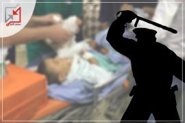 الطفل ياسر سالم يدخل المشفى بعد الإعتداء عليه من الشرطي أيوب عوده .
