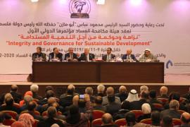 رئيس السلطة محمود عباس خلال مؤتمر مكافحة الفساد قال: