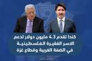 كندا تقدم 4.3 مليون دولار لدعم الاسر الفقيرة الفلسطينية في الضفة الغربية وقطاع غزة .