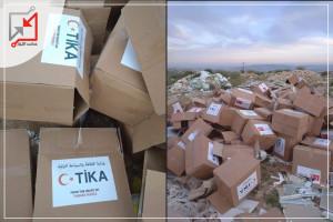 مساعدات تركية تباع في الأسواق .