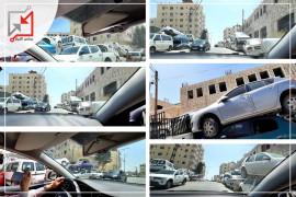 الشرطة في محافظة الخليل تسببت بإعاقة حركة المرور أمام مقر الشرطة