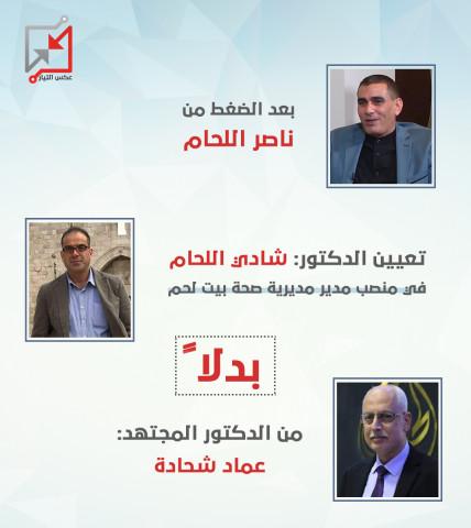 تعيين الدكتور شادي اللحام بدلا من الدكتور عماد شحادة في منصب مدير صحة بيت لحم بضغط من ناصر اللحام