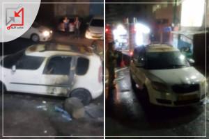 مجهولون يحرقون سيارة في مخيم شعفاط بالقدس المحتلة صباح اليوم .