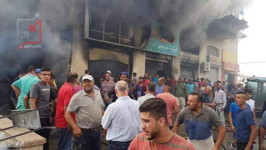 اندلاع حريق كبير في أحد المحلات التجارية برام الله والبيرة
