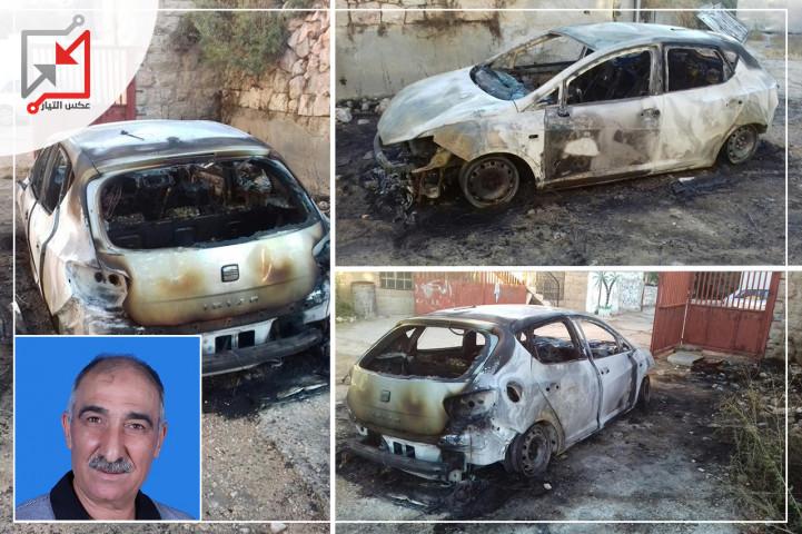 مجهولون يحرقون مركبة المواطن فايز عودة نصار أثناء تواجدها أمام منزله