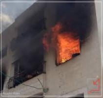 مجهولون يضرمون النار في منزل المواطن/ مهند عبد الله سلهب في نابلس