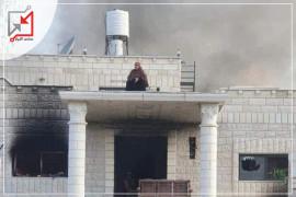 أمرأة تشعل النار في منزل قاتل بنيها وعمهما  بنابلس