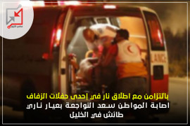 إصابة المواطن سعد النواجعة بعيار ناري طائش في الخليل