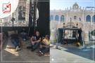 عمال فندق جاسر يعتصمون أمام الفندق بعد قيام بشار المصري بطردهم