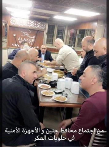 اجتماع محافظ جنين مع قادة الاجهزة الامنية في حلويات العكر دون اي اجراءات وقائية