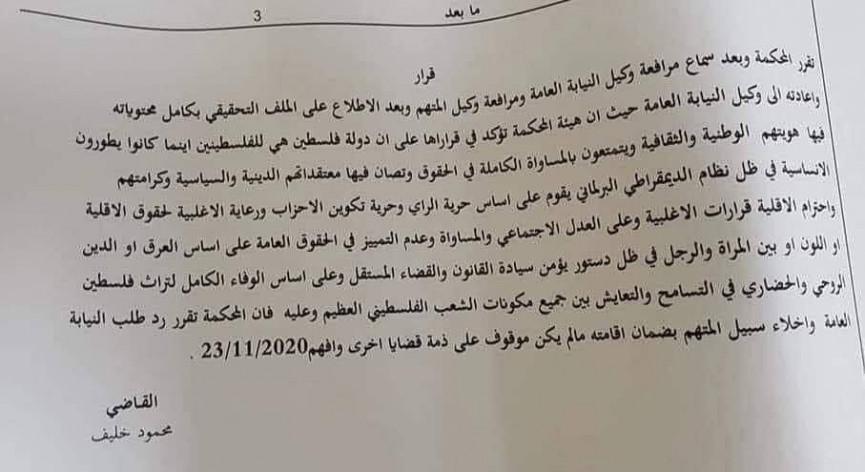 نص قرار الإفراج عن الناشط نزار بنات من محكمة أريحا