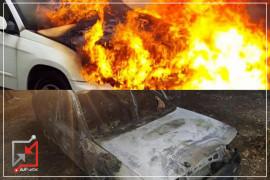 احراق مركبتين في قلقيلية على يد مجهولين