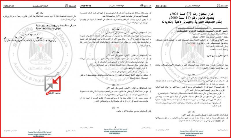 محمود عباس يصدر قرارا بقانون يقيد فيه عمل المنظمات الأهلية ويحولها الى منظمات تابعة لأمر السلطة