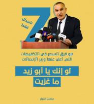 سبعة شواكل فرق سعر التخفيضات التي أعلن عنها وزير الاتصالات