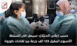 اعلام الاحتلال سيصل للسلطة الاسبوع المقبل 125 الف جرعة من لقاحات كورونا