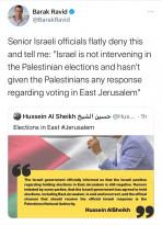 باراك رافيد ينفي ادعاء الشيخ بخصوص منع الاحت ـلال للانتخابات بالقدس