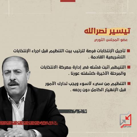 عضو المجلس الثوري تيسير نصرالله معلقاً على مرحلة الإنتخابات الأخيرة