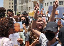 من تظاهرة الغضب والاستنكار في رام الله، تنديدًا باغتيال نزار بنات على يد الأجهزة الأمنية الفلسطينية
