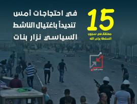 15 معتقلاً في سجون السلطة برام الله، في احتجاجات امس المنددة باغتيال الناشط السياسي نزار بنات