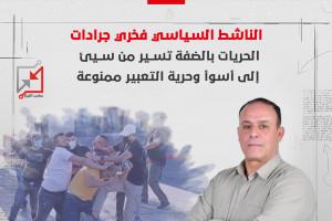 الناشط السياسي فخري جردات:  الحريات بالضفة تسير من سيئ إلى أسوأ وحرية التعبير ممنوعة