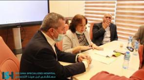محافظ جنين اكرم الرجوب يشرب السجائر داخل مستشفى ابن سينا التخصصي اثناء اجتماعه مع وزيرة الصحة