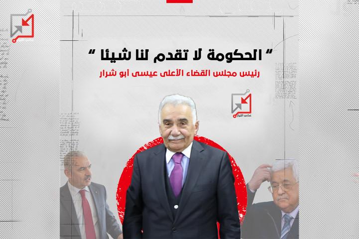"""رئيس مجلس القضاء الاعلى عيسى أبو شرار """" الحكومة لا تقدم لنا شيئاً """""""